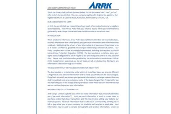 Privacy Policy Agreement ARRK Europe Ltd.